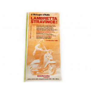 "Original poster ""Lambretta stravince"" 8° motogiro d'Italia. NOS"