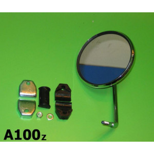 Round legshield mounted mirror