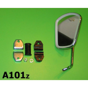 Rectangular legshield mounted mirror
