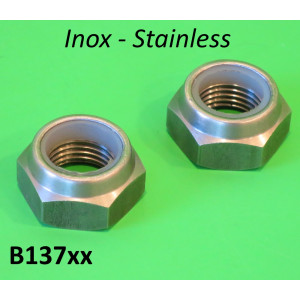 Pair of STAINLESS STEEL large engine bolt nylok nuts (24mm spanner / 16mm thread)