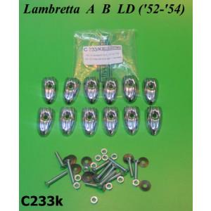 Set 12 x chromed floor runner strip endcaps + fasteners