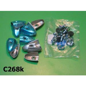 Set of 12 x floor channel endcaps (pressed aluminium type) + complete fasteners set