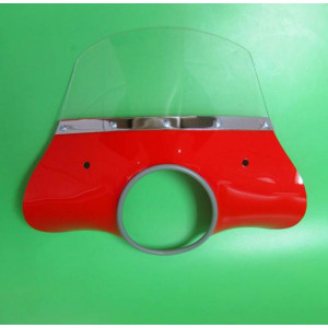Red 'Classic' model flyscreen for Lambretta LI S2 + S3 (complete with bracket set)