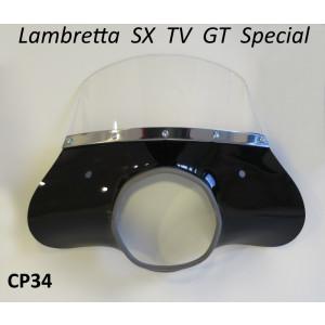 Black 'Classic' model flyscreen for Lambretta SX+ TV+ GT+ Special +Serveta (+ bracket set)