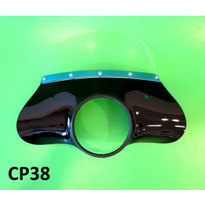 Black 'Classic' model flyscreen for Lambretta LI S2 + S3 (complete with bracket set)