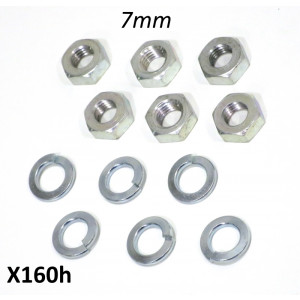 Set of 6 x thin type 7mm nuts + split washers for fixing gearbox endplate
