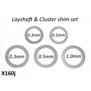Set of 5 special cluster + rear layshaft shims for 'Cyclone 5 Speed' gearbox