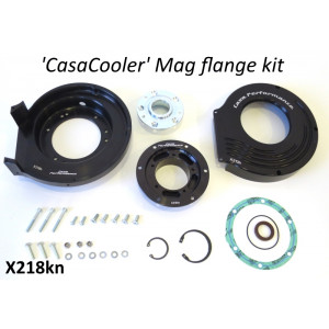 Complete CasaCooler black CNC mag flange kit for original Lambretta engines