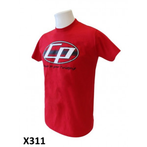 Mens red 'Casa Performance' T-shirt with the oval CP logo