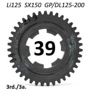 39T 3rd gear cog for  Lambretta LI125 + SX150 + Special 125 + GP / DL 125-150-200
