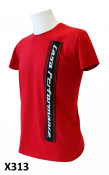 Mens red 'Casa Performance' T-shirt with vertical CP logo