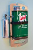Green Castrol 2 stroke oil can holder + dispensor for mounting inside Lambretta spare wheel