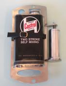 Black Castrol 2 stroke oil can holder + dispensor for mounting inside Lambretta spare wheel