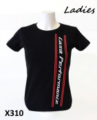 Ladies black 'Casa Performance' T-shirt with vertical CP logo