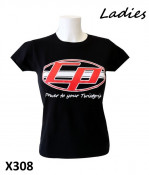 Ladies black 'Casa Performance' T-shirt with the oval CP logo