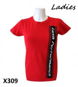Ladies red 'Casa Performance' T-shirt with vertical CP logo