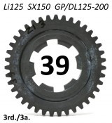 39T 3rd gear cog for  Lambretta LI125 + SX150 + Special 125 + GP / DL 125-150-200