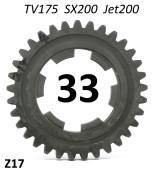 33T 4th gear cog for Lambretta TV175 S2 / S3 + SX200 + Jet200