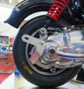 Rear mounting bracket for Protti expansion chamber exhaust (+ similar)