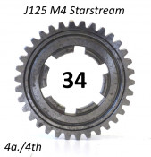 34T 4th gear cog for Lambretta J125 M4 Starstream 4 speed models