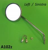 LEFT hand round MEDIUM length stemmed mirror (with round bar clamp)