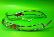 Lambretta S1 + S2 Ulma style double legshield trims (red gems)