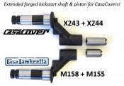 Extended sliding piston for extended kickstart shaft for CasaCover engine sidecasing