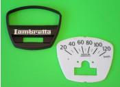 Fondo serigrafato + mascherina superiore per contakm scala 120 Km per Lambretta DL150
