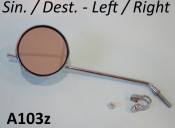 Round LEFT / RIGHT hand chromed LONG stemmed mirror (with optional clamp)