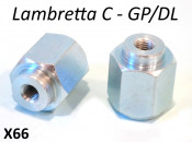 Pair of special front hub nuts for mounting shock absorbers (for all drum hub models)
