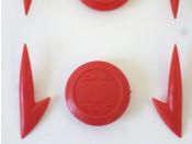 Set of red Ulma type plastic gems