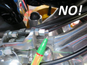 Set of 3 x extended neck adjusters for control cables on top of engine (stainless steel)