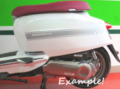 Set of high quality SILVER sidepanel speed stripes for New Lambretta V Special