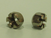 Pair of (nickle plated) domed castle nuts for front fork springs Lambretta C LC