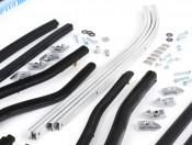 Complete black front + rear floorboard runner kit for Lambretta GP / DL