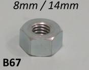 14mm nut (8mm thread) for wheels (+ cylinder head on post. '57 Lambretta's)