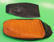 Complete brown + black seat cover (with internal rubber + sponge) Lambretta J50 Special