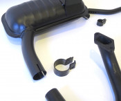 Complete 'Innocenti' exhaust silencer + tailpipe + U bend + clamps for Lambretta S1 ('58 models)