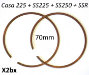 Pair of high quality ITALIAN MADE 70 x 1mm piston rings for Casa 225cc + SS225 + SS250 + SSR