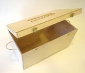 Wooden display / exhibition case for CasaCase Lambretta engine casing (hinged top cover version)