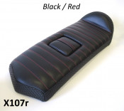 Special low profile seat (black with RED stitching) for fibreglass rear bodywork section X107