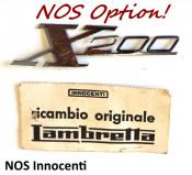 'X200' chrome legshield badge for Lambretta SX200