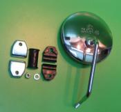 Round legshield mounted mirror
