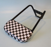 Black short backrest with chequered pad for Lambretta + Vespa