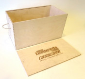 Wooden display / exhibition case for CasaCase Lambretta engine casing (sliding top cover version)