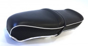 NEW! Black (with white piping) Pegasus 'flatbase' seat Lambretta S3 (LOW fronted version) + S1 / S2